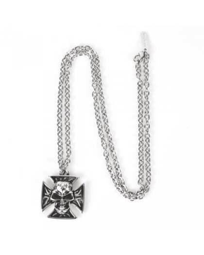 M.NRNECKLACE-S6 NEW ROCK SKULL CROSS NECKLACE 53713-N-CAD