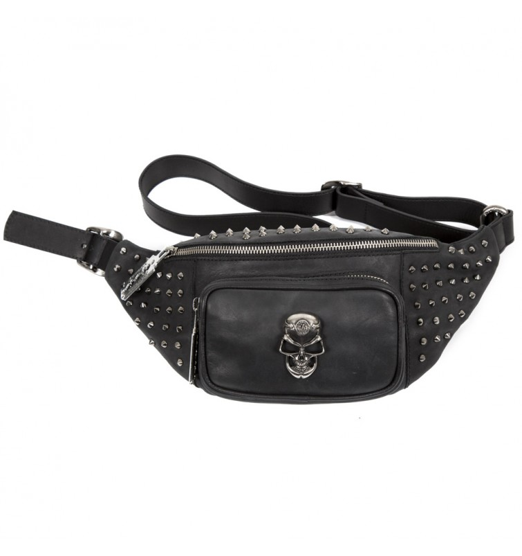 M.WAISTBAG3-S1 NEW ROCK BLACK LEATHER WAIST BAG