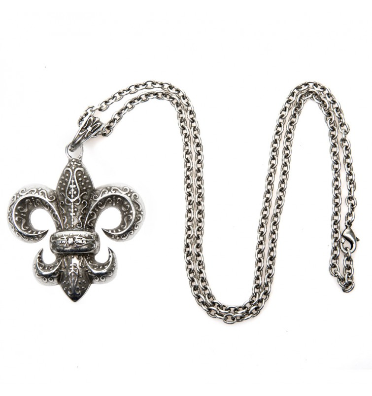 M-AD2430-S1 LIS FLOWER NECKLACE WITH CHAIN