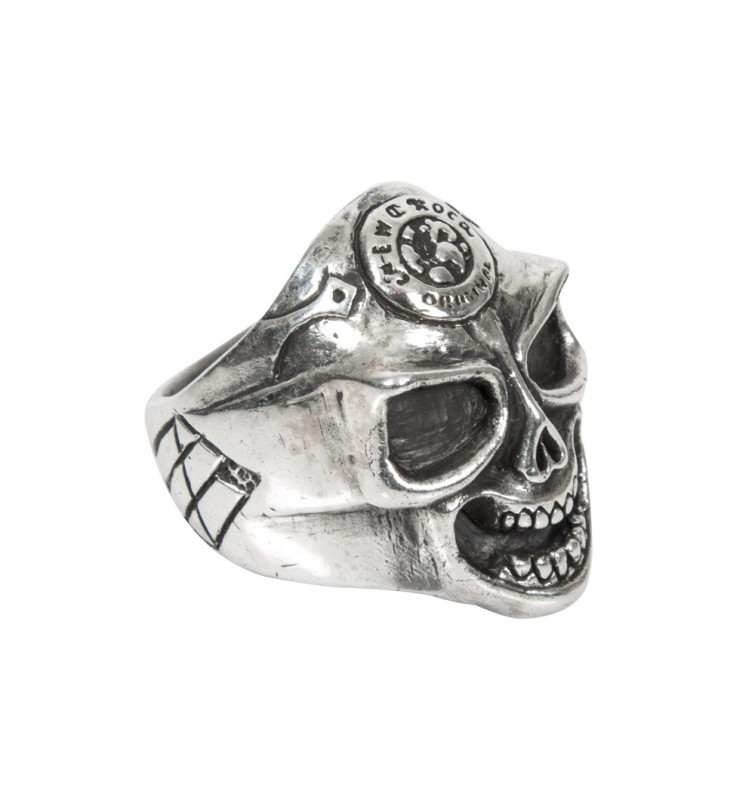 M.RING1-C1 NEW ROCK SKULLS REAL SILVER RING