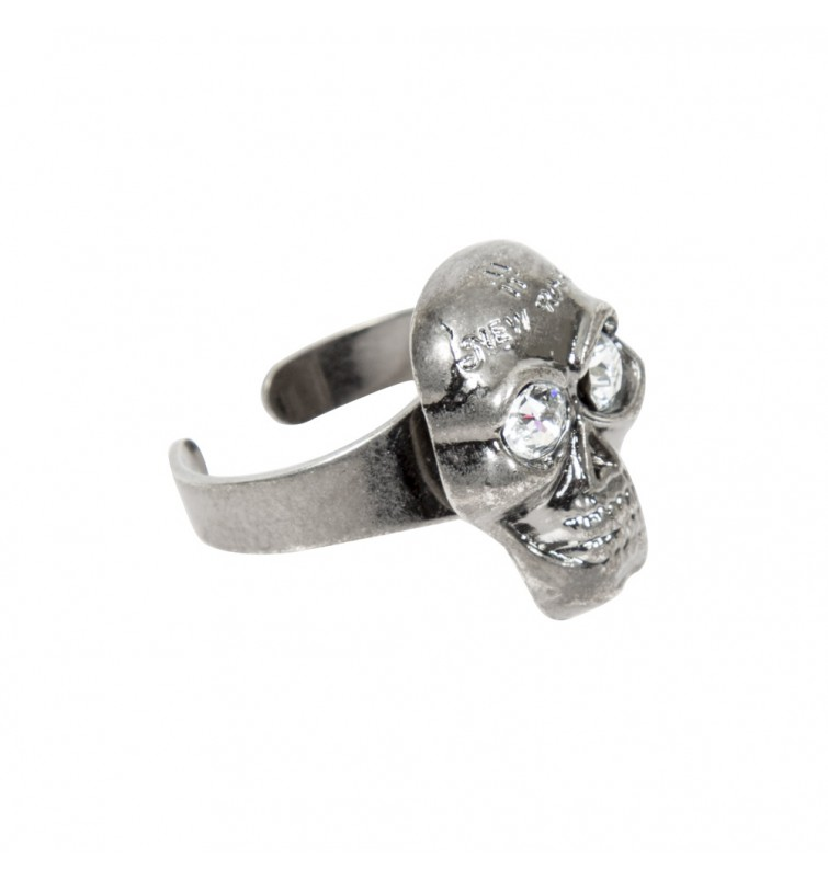 M.RING4-S1 NEW ROCK CRYSTAL SKULL METAL RING